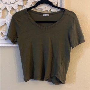 Zara Green Linen Crop V Neck T-shirt